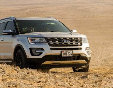 Ford Explorer driving through the desert